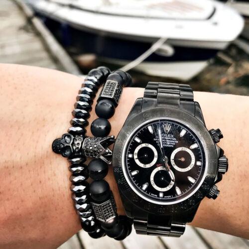 Charme Homme Zircon Couronne titane acier crâne Bracelet 8 mm NATURAL Onyx Male Beads