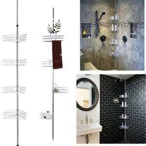 4 Tier Metal Shower Corner Pole Caddy Bathroom Corner Shelf Storage Rack Holder 637509435752 Ebay