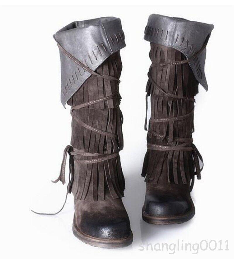 Womens Lady Retro Vintage Tassel Fringe Knee High Riding Boots Low Heel Leather