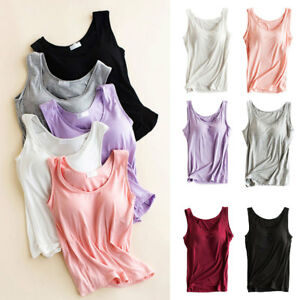 8fbf4e1977 Women Summer Built-in Bra Padded Strap Yoga Tank Top Camisole Cami ...
