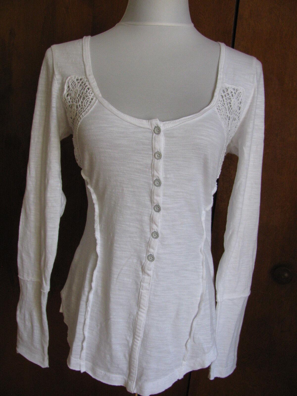 Free People damen Weiß cotton knitted detailed top Größe Medium NWT