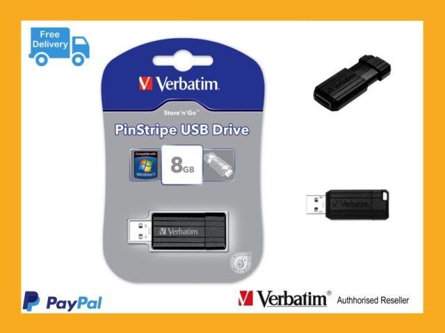 ($0 P&H) Verbatim USB Thumb Drive 8GB  Store n Go  Black Capless p/n 49062