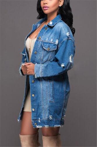 UK Women Ripped Long Denim Coat Ladies Casual Jacket Outwear Jeans Overcoat 8-16