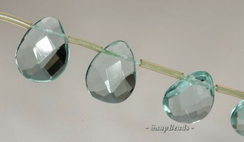 "GEMSTONE FACETED TEARDROP LOOSE BEADS 6.5/"" GLASS 24X20MM  GREEN QUARTZ"