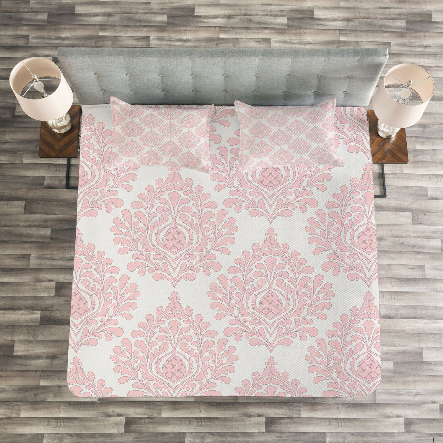 Damask Quilted Bedspread & Pillow Shams Set, Pink Victorian Pattern Print