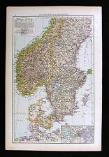 1896 Times Atlas Map Sweden Norway Denmark Scandinavia Oslo Stokholm Copenhagan