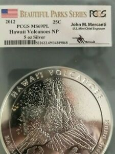 2012P Hawaii Volcanoes 5oz Silver ATB America The Beautiful PCGS MS69PL Mercanti