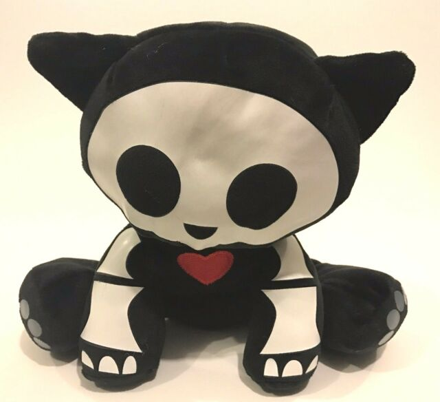 "Skelanimals Kit Cat Plush 9"" Stuffed Animal Jakks Black White Sitting"