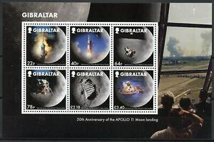 Gibraltar-Stamps-2019-MNH-Moon-Landing-Apollo-11-50th-Anniv-Space-6v-M-S