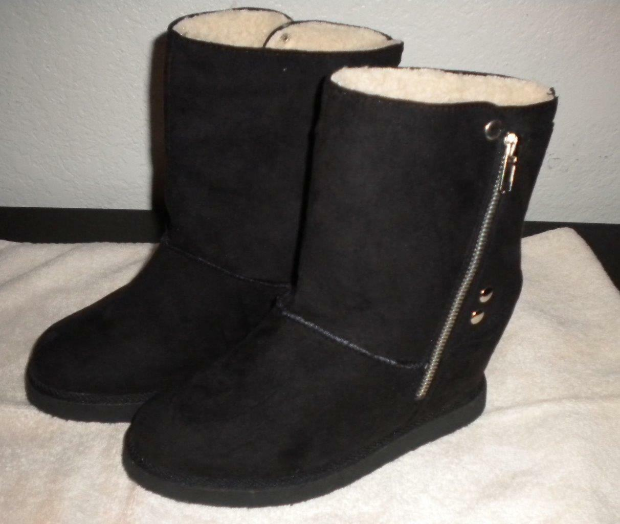 MAURICE'S WOMENS SIZE 7 M FAUX BLACK SUEDE HIDDEN WEDGE SIDE ZIP FASHION BOOTIE