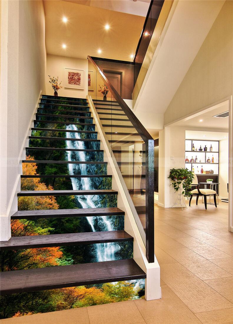 3D Stream-Baum 23 Stair Risers Dekoration Fototapete Vinyl Aufkleber Tapete DE