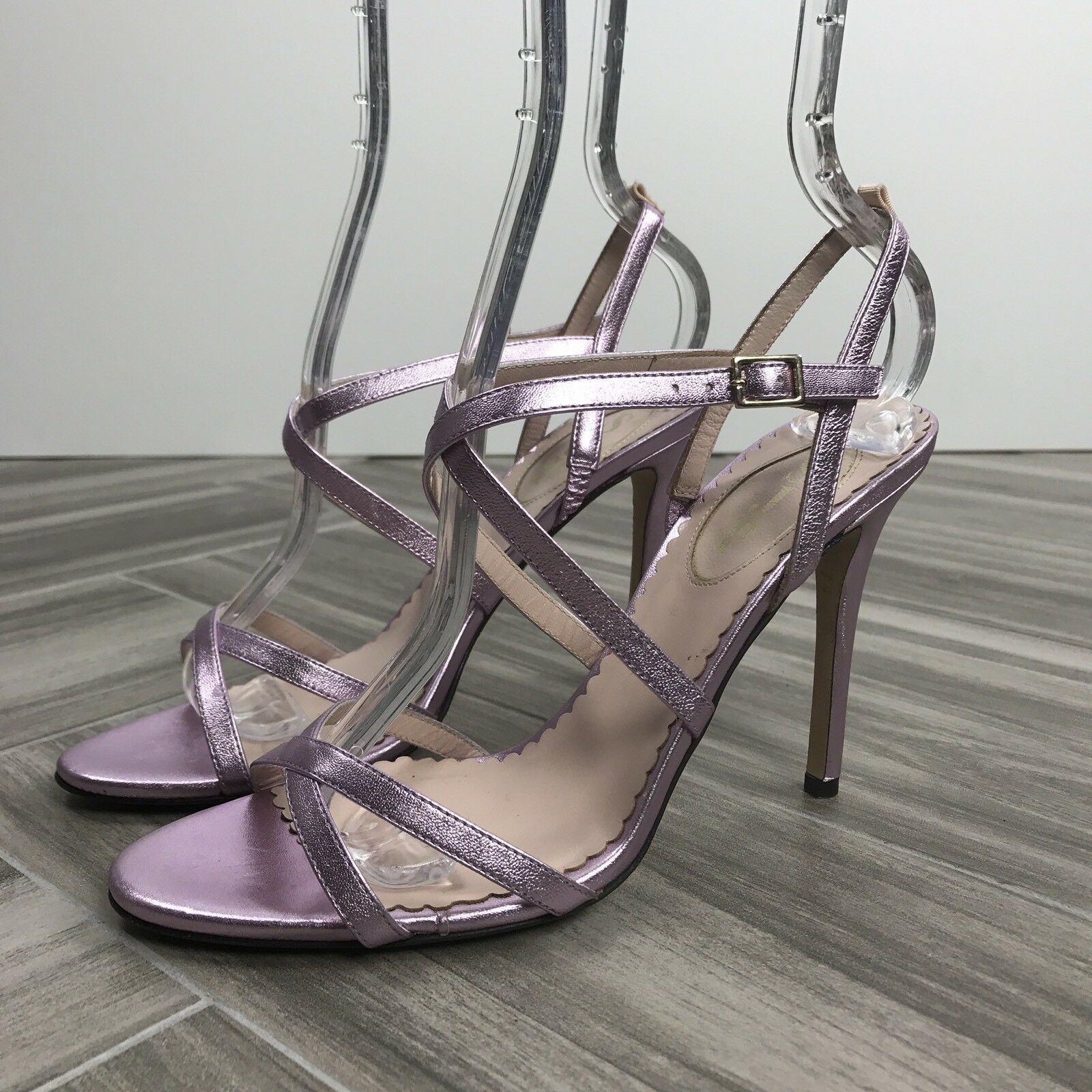 SJP Pink Metallic Strappy High Heel Sandal Size 37 Sexy, MSRP