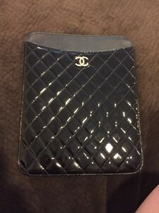 134d3b139b7dea Image is loading Chanel-iPad-Case-Black-Quilted-Patent-Leather