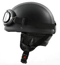 H110 Leder Retro Helm Größe: XL 61cm Motorradhelm Oldtimerhelm Halbschale