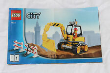 LEGO 7633 City Yellow Digger Construction Site Instructions BOOK 1 ONLY NO BRICK