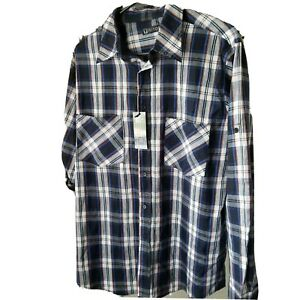 Plaid Button Down long Sleeves Shirt Size L Blue Orange Visitors Cotton