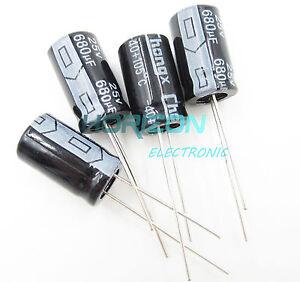 20PCS-680uF-25V-105C-Radial-Electrolytic-Capacitor-10mm-17mm