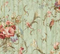 Wallpaper 12 Inch Sample Only French Scroll Floral Bouquet & Birds On Crackle
