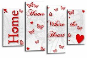 FAMILY Love QUOTE Art Picture Purple Cream Home Canvas Wall 112 cm