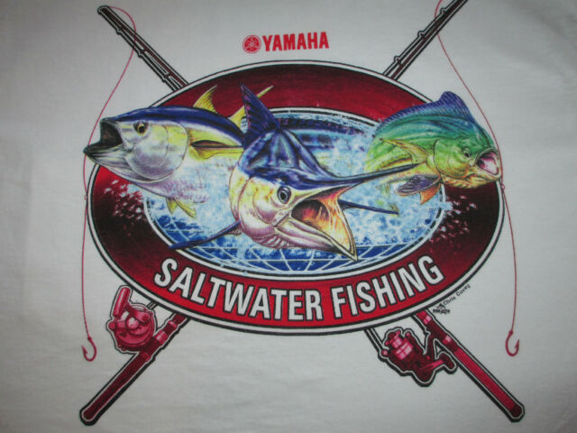 "NEW Authentic Yamaha White Short Sleeve Tee Shirt with ""Saltwater Fishing"""