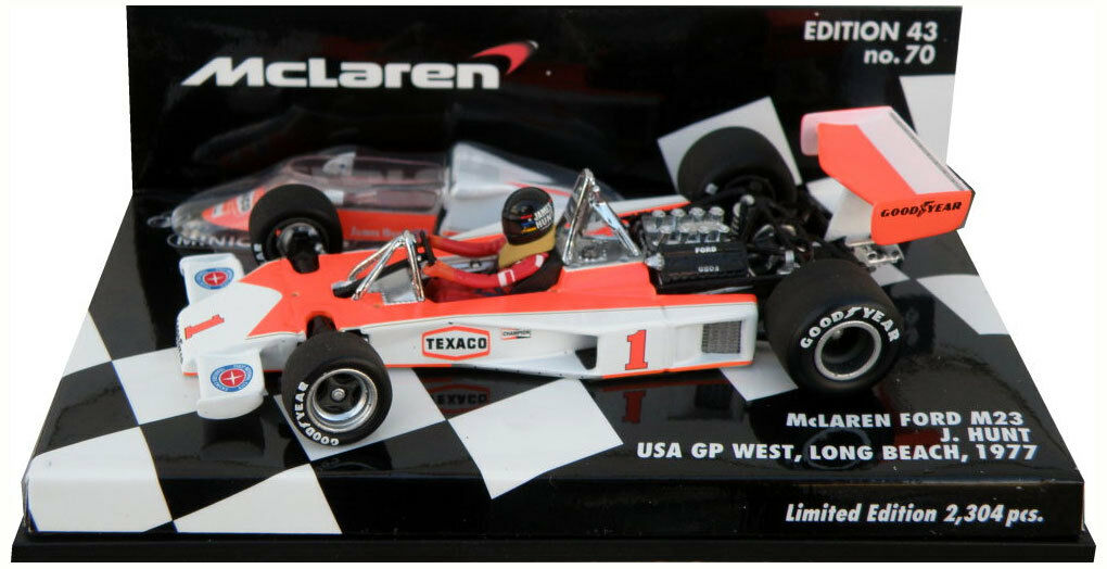 Minichamps MCLAREN FORD m23 GP Usa Ovest LONG BEACH BEACH BEACH 1977-James Hunt SCALA 1/43 d91621