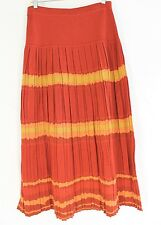 PERUVIAN CONNECTION RED SKIRT SIZE MEDIUM Pleated Pima Cotton Striped Mid Calf M