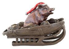 Wiener Bronze Santa Pig - Schwein auf Schlitten mit Mütze - 2-teilig - Dekofigur