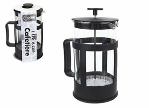 6 Taza de 1 litros de prensa francesa Cafetiere cafetera con filtro Negro hogar regalo de té  </span>