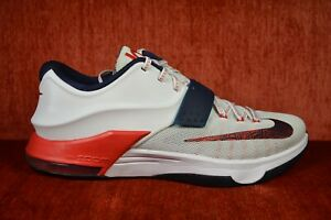 on sale 9e18b 9ae59 Details about CLEAN Nike KD 7 USA White Obsidian Universary Red Size 11  653996-146