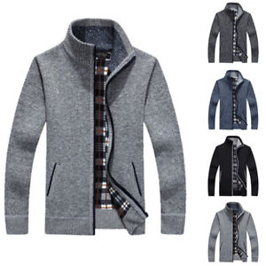 Men/'s Zip Up Thick Velvet Spring Autumn Knitted Cardigan Classic Jumper Cardigan