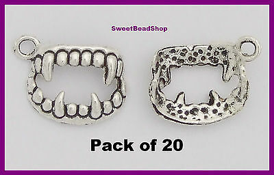 20 Antique Silver Colour 17 x 12mm Dracula Vampire Teeth Fangs Gothic 3D Charms