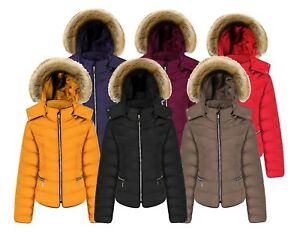 New-Womens-Ladies-Quilted-Padded-Bubble-Fur-Hooded-Thick-Warm-Puffer-Coat-Jacket