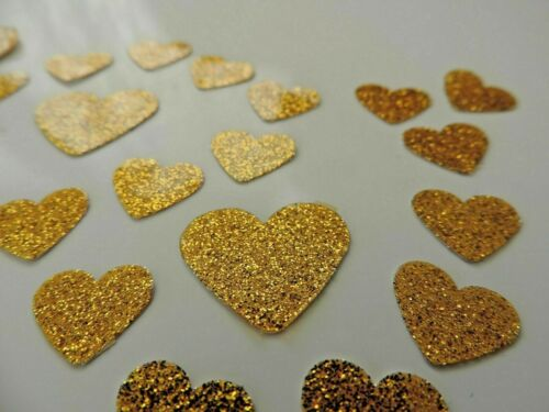 50 Small Old Gold Love Hearts Waterproof Stickers Self Adhesive FREE UK DELIVERY
