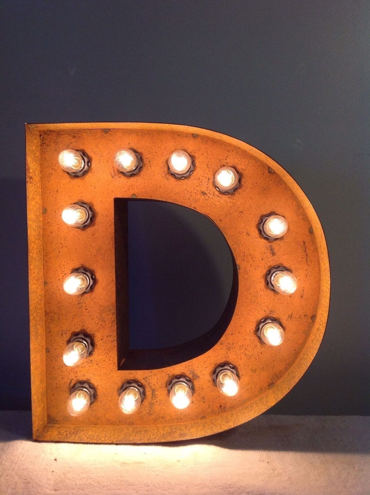 New Rustic Metal Letter D Light Marquee  Sign Wall Decoration 12  Vintage