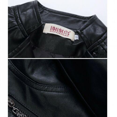 Punk Women Biker Jacket Faux Leather Slim Fit Waterproof Motorcycle Blazer 4XL D