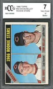 1966-topps-44-BILL-DAVID-TOM-KELLEY-cleveland-indians-rookie-card-BGS-BCCG-7
