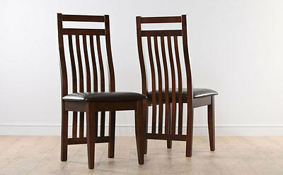 2 4 6 8 Java Dark Finish and Leather Dining Room Chairs
