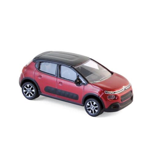 Norev 310611 Citroen C3 rot//schwarz 2016 Maßstab 1:64 Modellauto NEU!°