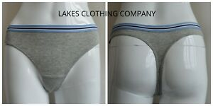M/&S LADIES THONG SPORTY COTTON Low Rise Brief Knickers Blue Waistband 12 14