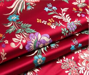 Vintage-Chinese-Satin-Floral-Fabric-Begonia-Damask-Brocade-DIY-Bag-Costume-Soft