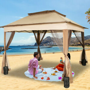 VEVOR 11x11ft Outdoor 2-Tier Top Folding Portable Gazebo Vented with Netting