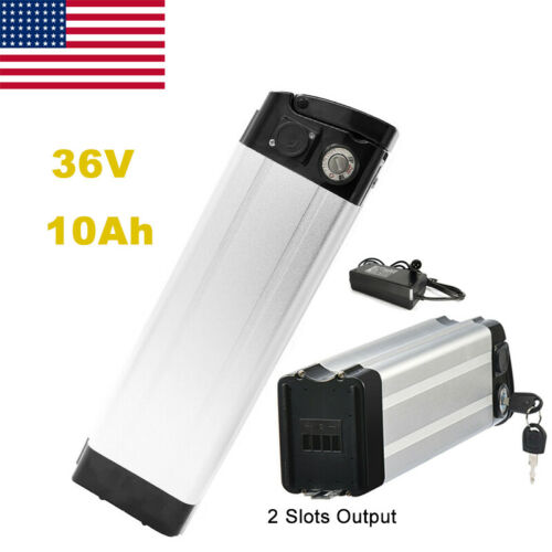 36V 10Ah 350W Lithium E-Bike Battery Pack Silver Fish with 2 Discharer Port