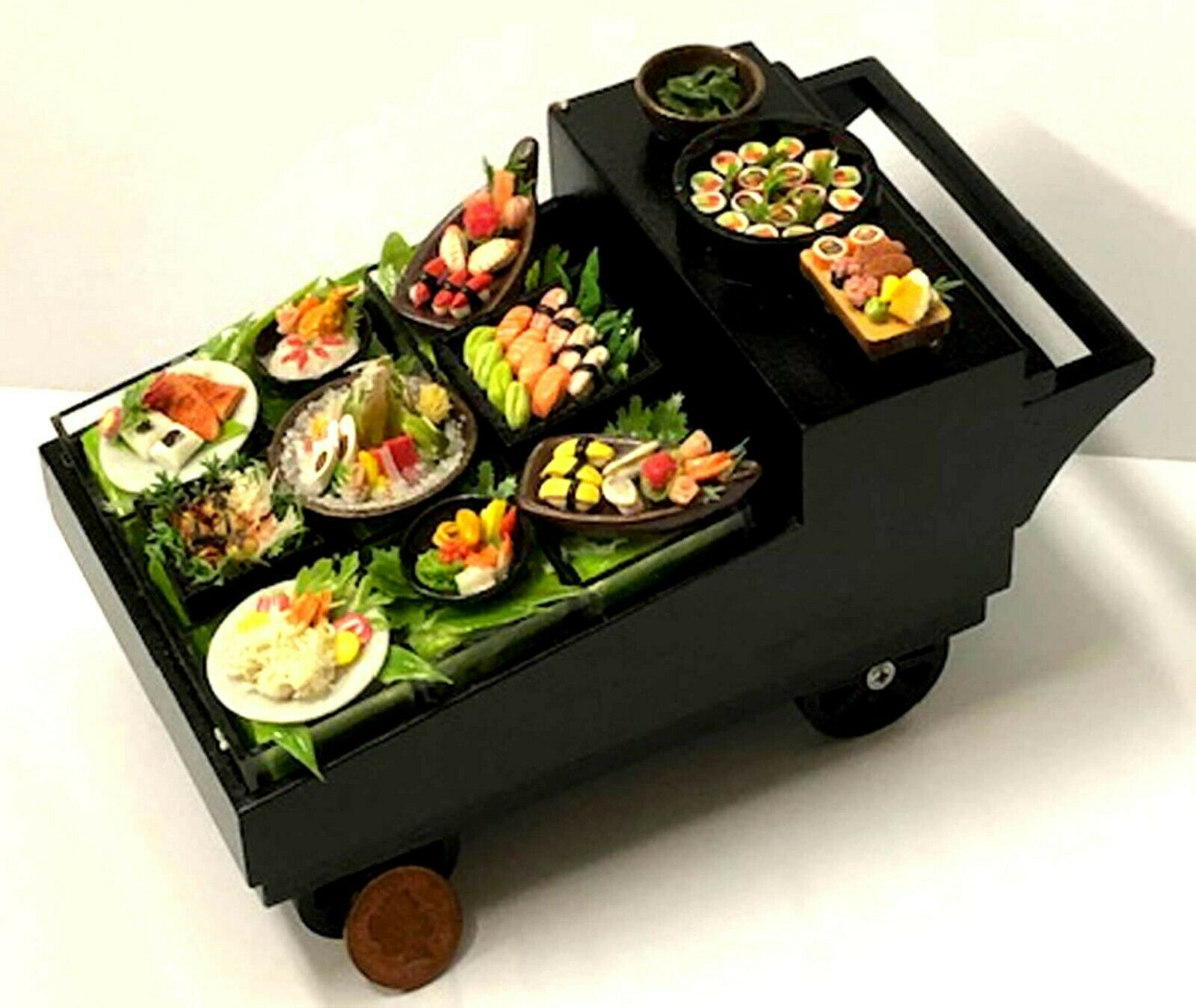 1 12 Scale Fully Stocked Mobile Sushi Display Tumdee Dolls House Food Counter B6