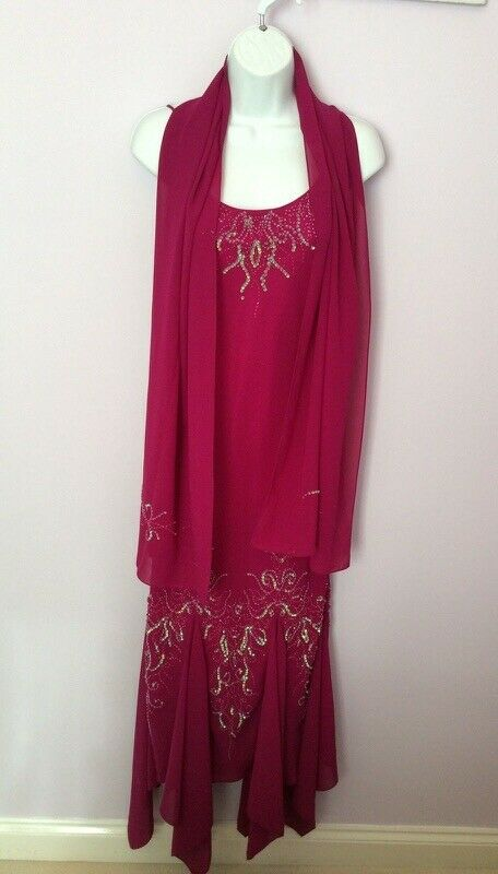 NEW WONDALAND BY SECTOR DARK PINK BEADED & SEQUIN EVENING DRESS & WRAP SIZE 8
