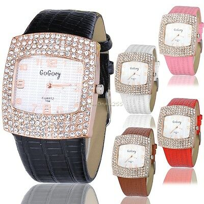 New ArrivalWomen Lady Luxury Gold Crystal Quartz Rhinestone Leather Wrist Watch