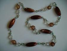 Modeschmuck Halskette Perlen braun-beige kristall Kunststoffperlen