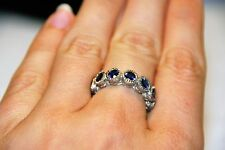 Judith Ripka Sterling Silver and Blue Iolite Gemstone Seven Stone Ring Size 7