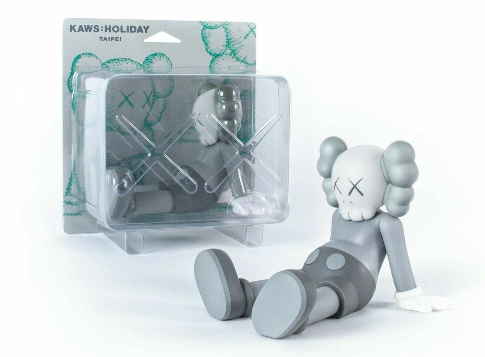 "KAWS  HOLIDAY Limited 7"" grigio Vinyl cifra seated  position LIMITED Authentic  spedizione veloce a te"