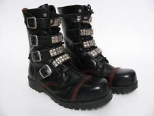 UNDERGROUND ENGLAND BLACK LEATHER STEEL CAP PUNK ROCK GRUNGE BOOTS SHOES~8 UK