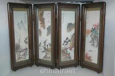 Vintage Japanese 4-Panel Table Desk Screen Shell Sea Urchin Spine Landscapes